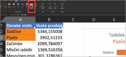Pokaži pero za dejanja v Excelu