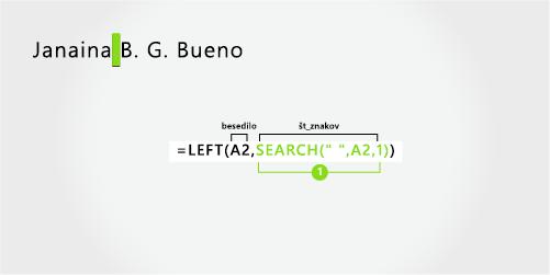 Formula za ločevanje imena, priimka in dveh srednjih inicialk