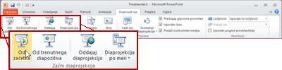 Zavihek »Diaprojekcija« v PowerPointu 2010, ogled skupine »Začni diaprojekcijo«.