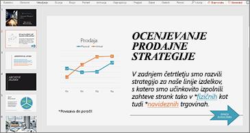 Predstavitev z diapozitivom, ki vsebuje grafikon in besedilo z dvema hiperpovezavama