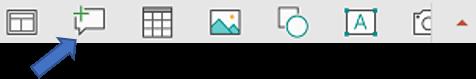 V plavajoča orodni vrstici v PowerPointu za Android je na voljo ukaz »Nova pripomba«.