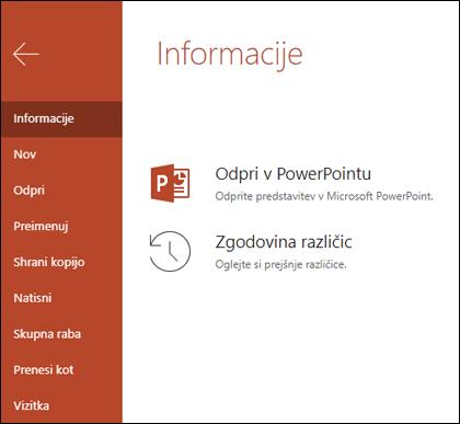 Zavihek» informacije «v storitvi Office Online, ki prikazuje element zgodovine različic.