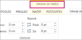 Slika ukaza »Orodja za tabele«, ki se prikaže nad trakom, ko kliknete kjer koli v tabeli.