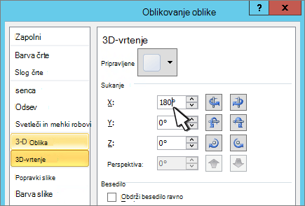 Pogovorno okno» oblikovanje oblike «z izbranim 3D-vrtenjem