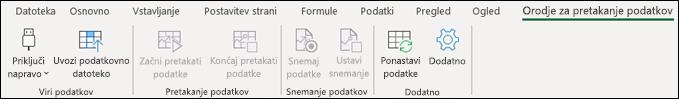 Dodatek Orodje za pretakanje podatkov v Excelovem meniju na traku