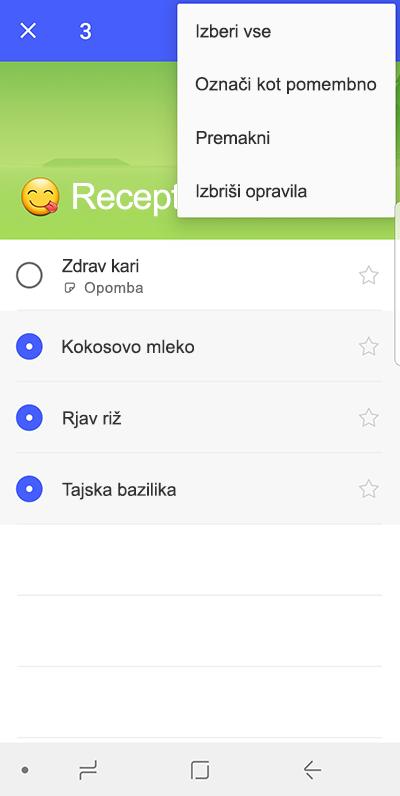 Posnetek zaslona možnosti za premikanje zadolžitve v sistemu Android