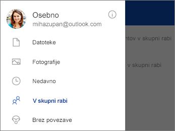 Pogled v skupni rabi v storitvi OneDrive