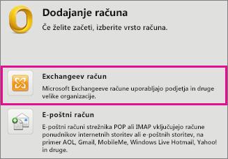 Orodja > Računi > Exchangeev račun