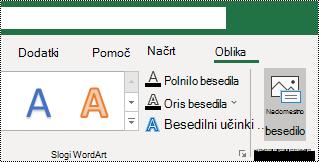 Nadomestno besedilo gumba na traku v Excelu za Windows