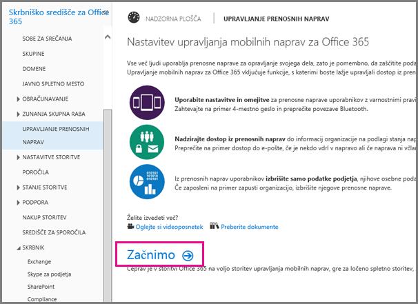 Nastavitev upravljanja prenosnih naprav v storitvi Office 365