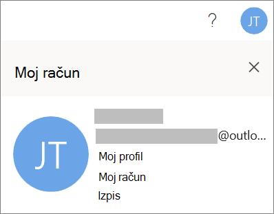 Prikazuje možnost izpisa za Office za splet