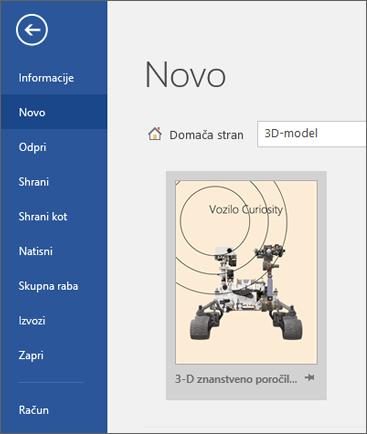 Prikazan je predloga 3D-modela v razdelku »Datoteka« > »Novo«