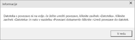 Pokaže napako povezane datoteke v PowerPointu.