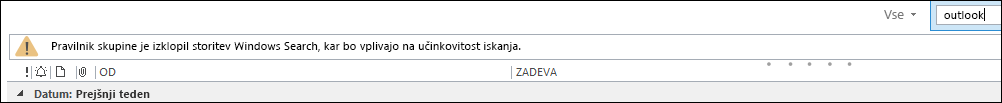 Storitev Windows Desktop Search je onemogočena