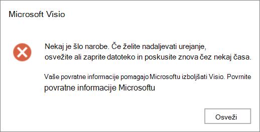 Posnetek zaslona» prišlo je do napake «med urejanjem datoteke v Visiu