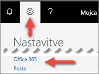 Slika, ki prikazuje, kje klikniti v razdelku z nastavitvami.