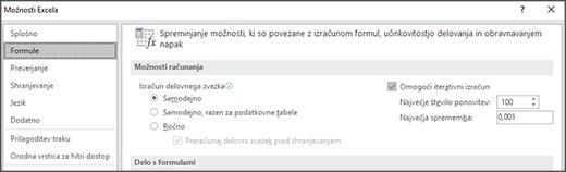 Posnetek zaslona z nastavitvami iterativnega izračuna