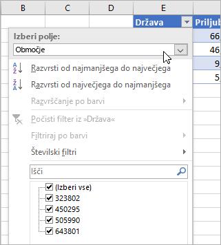 Meni »Filter«, meni »Prikaz vrednosti«, našteta polja iz povezane vrste podatkov