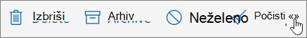 Posnetek zaslona prikazuje možnost Počisti izbrano e-pošte v orodni vrstici.
