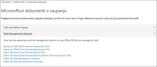 Prikazuje stran za nadzor kakovosti storitve: Zaupajte dokumentom, ki jih posreduje Microsoft