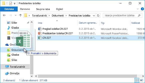 Vlečenje datotek v OneDrive