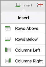 meni za Vstavljanje tabele iPad
