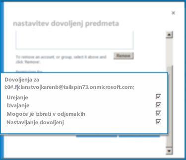 Posnetek pogovornega okna »Nastavi dovoljenja predmeta« v SharePoint Onlineu. V tem pogovornem oknu nastavite dovoljenja za posamezno zunanjo vrsto vsebine.