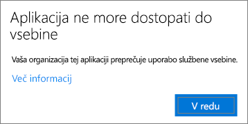 Pogovorno okno, ki navaja, da aplikacija ne more dostopati do vsebine, ko lepite v neupravljano aplikacijo.