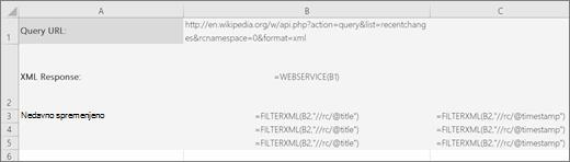 Primer funkcije FILTERXML