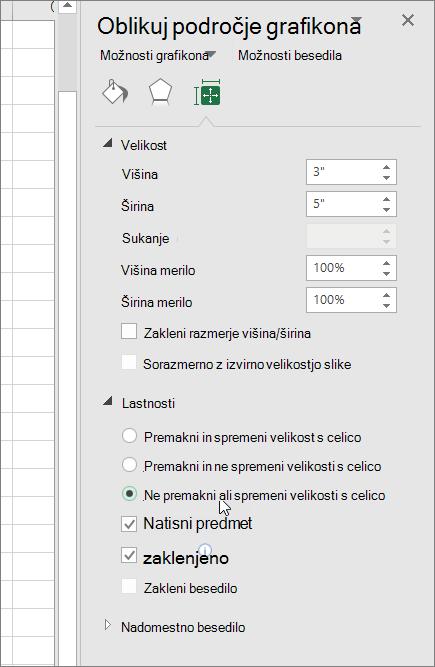 Lastnosti v podoknu Oblikuj področje grafikona