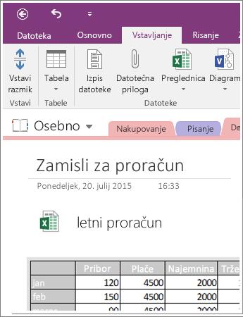 Posnetek zaslona vdelane preglednice v programu OneNote 2016.