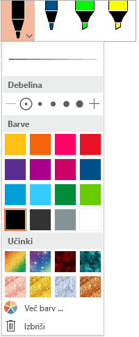 Možnosti barve in debeline za pero v Officeovi galeriji peres na zavihku »Risanje«