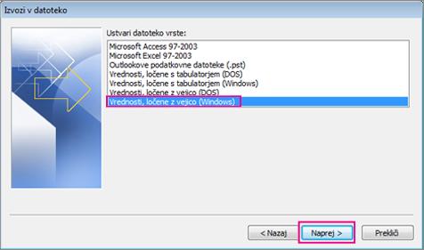 Izberite »Vrednosti, ločene z vejico (Windows)«.