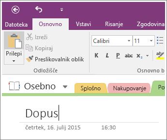 Posnetek zaslona dodajanja naslov strani na stran v programu OneNote 2016