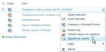 Spustni seznam za SharePointovo datoteko. Izbrana je zgodovina različic.