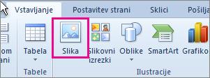 Vstavljanje slik v sistemu Office 2010