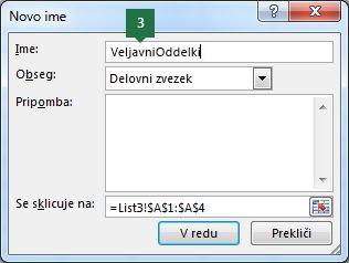 Vnesite ime za vnose spustnega seznama v Excelu