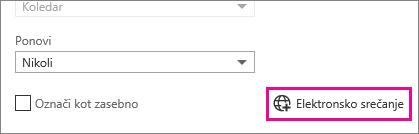 Outlook Web App, Gumb za spletno srečanje