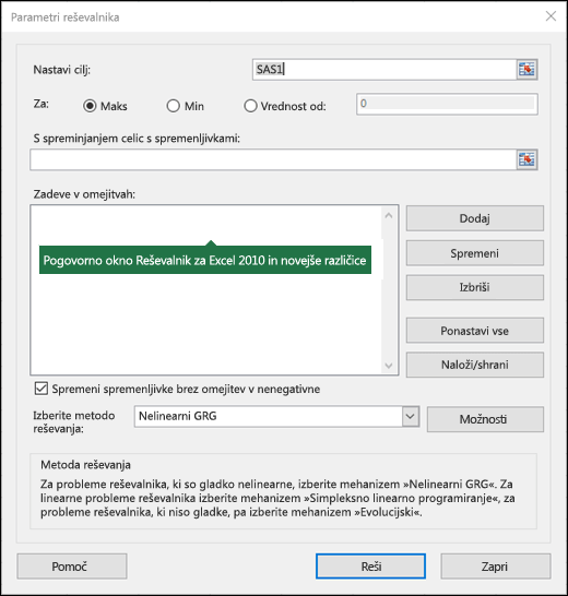 Slika pogovornega okna Excel 2010+ Reševalnik