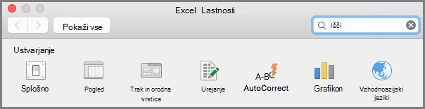 Office2016 za Mac trak orodne vrstice Preferences (nastavitve)