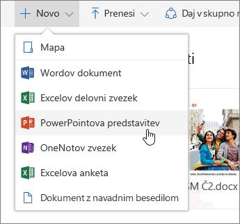 Posnetek zaslona, ki prikazuje, kako ustvarite datoteko ali mapo v storitvi OneDrive