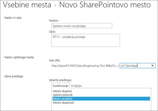Zaslon za ustvarjanje podstrani SharePoint 2016