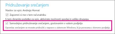 Splošne možnosti za preverjenega uporabnika, če je v računalniku potrjena možnost »Zapomni si me«.