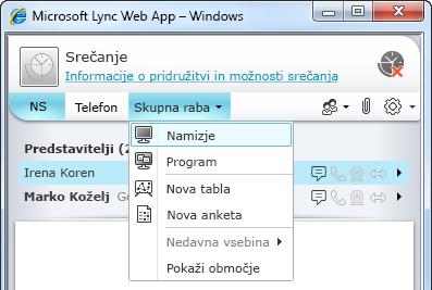 Meni »Skupna raba« spletnega programa Lync Web App