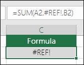 Excel prikaže napako  #REF!, če sklic na celico ni veljaven