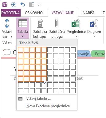 Vstavite tabelo v OneNotu.