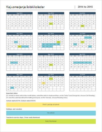 Predloga koledarja