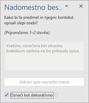 Podokno za nadomestno besedilo z izbrano možnostjo» označi kot dekorativno «v Wordu za Windows.
