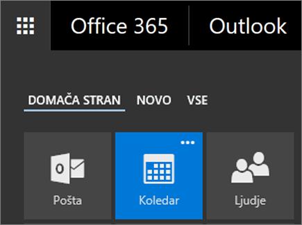Posnetek zaslona s ploščico Koledarja v zaganjalniku aplikacij storitve Office 365.
