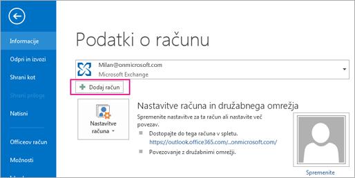Če želite dodati račun za Gmail v Outlook, kliknite gumb »Dodaj račun«.